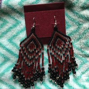 Native American Dangle Beaded Earrings- Red Black
